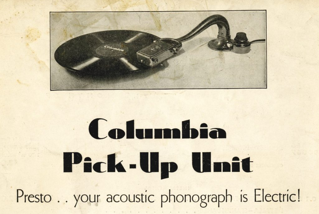 One of Columbia's electrical reproduction offerings adapted users' existing phonographs (PMR 4:11)